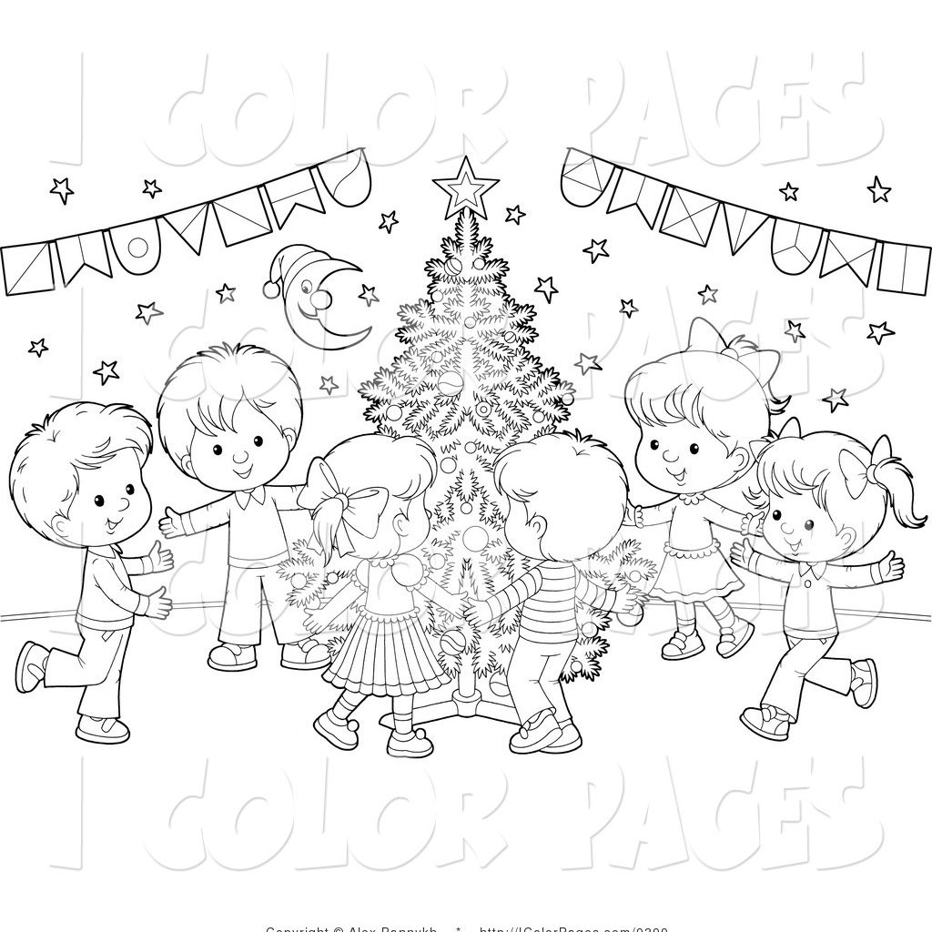 Christmas Coloring Pages Vector With Page Of A Kids Dancing Around