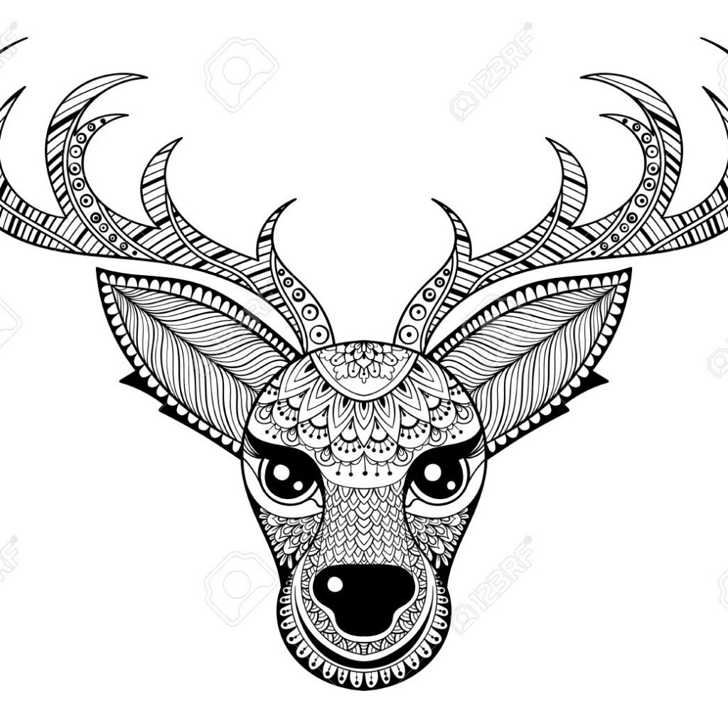 Christmas Coloring Pages Vector With Zentangle Reindeer For Adult Anti Stress