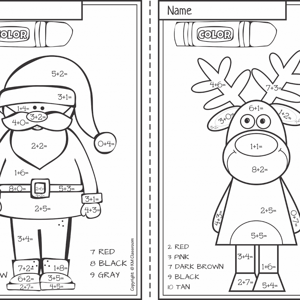 Christmas Coloring Pages With Addition FREE Color By Number Within 10
