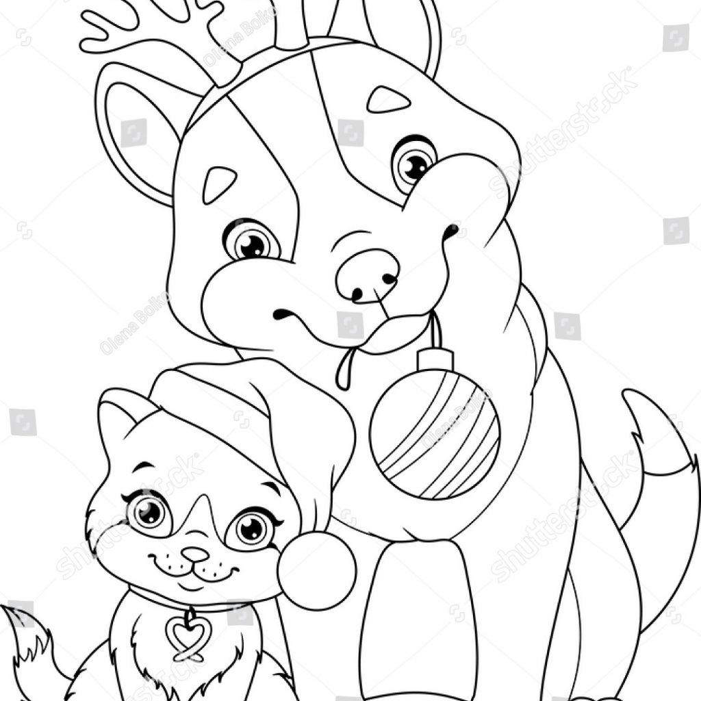 Christmas Coloring Pages With Cats Dog
