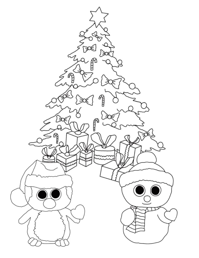 Christmas Coloring Pages With Cats Free Beanie Boo Download Print Dogs And Unicorns