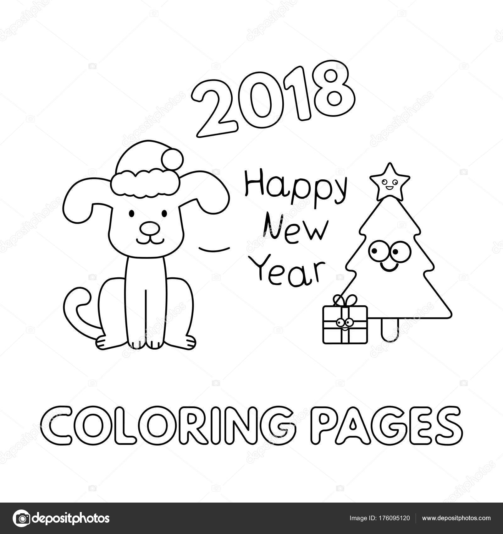 Christmas Coloring Pages With Dogs Cartoon Dog Stock Vector