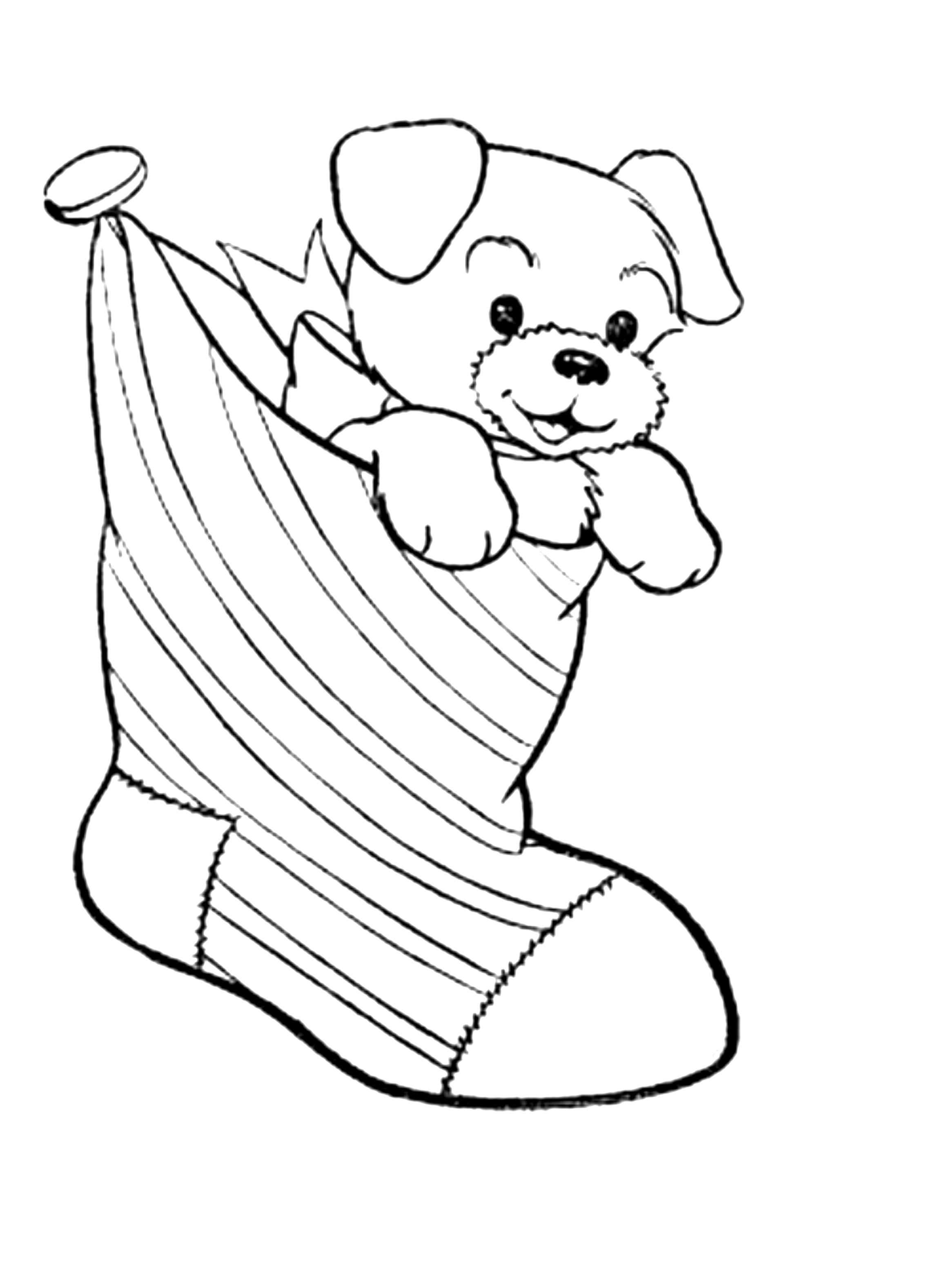 Christmas Coloring Pages With Dogs Dog And Puppy
