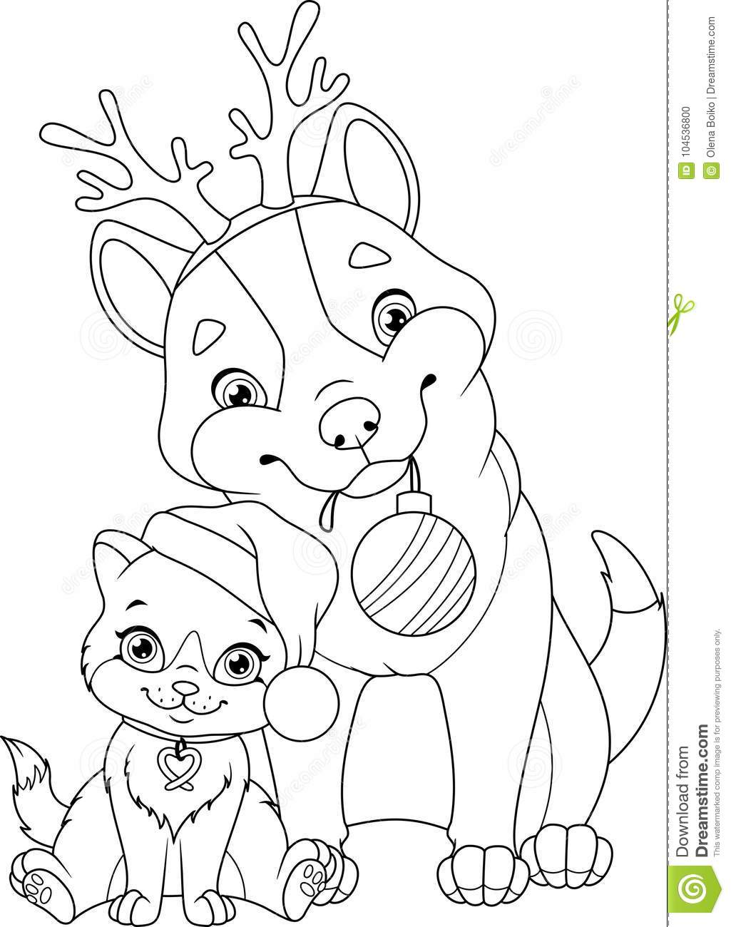 Christmas Coloring Pages With Dogs Dog Cat Page Stock Vector Illustration Of