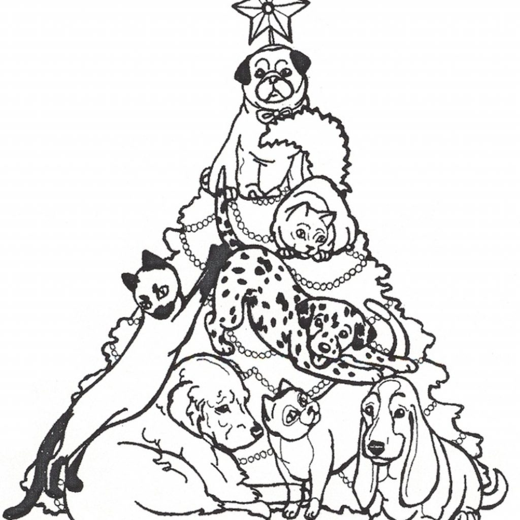 Christmas Coloring Pages With Dogs Dog Festival Collections