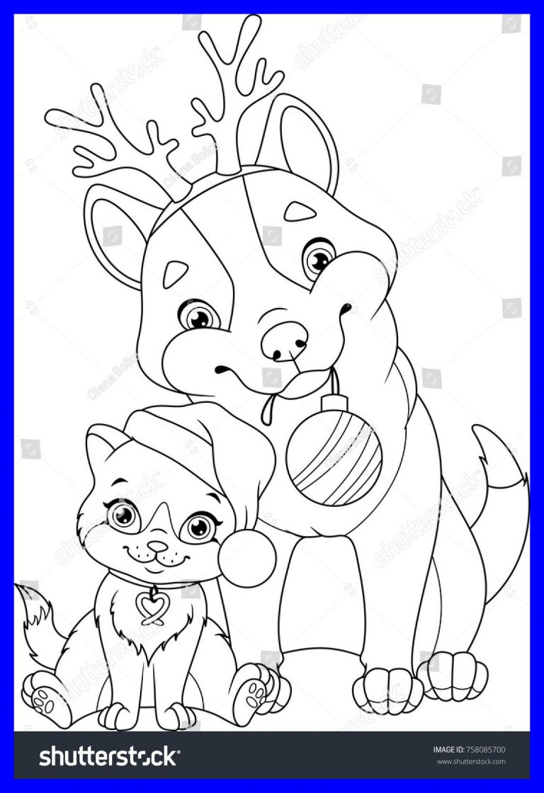 Christmas Coloring Pages With Dogs Download Dog And Cat Getwallpapers Us
