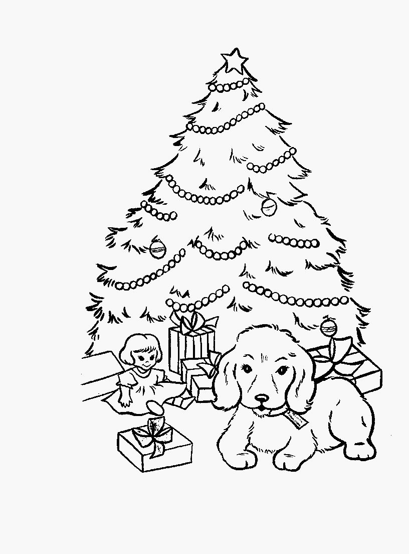 Christmas Coloring Pages With Dogs Presents 54 Perfect Free Printable