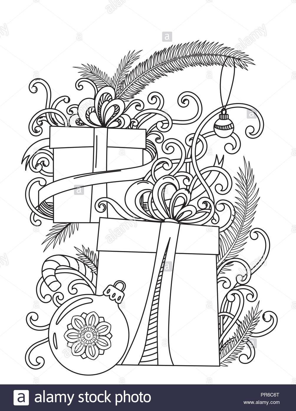 Christmas Coloring Pages With Instructions Page Adult Book Holiday Gifts And