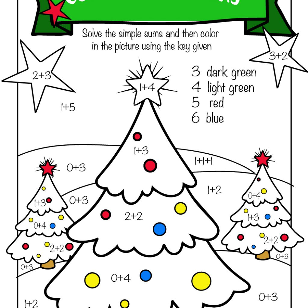 Christmas Coloring Pages With Math Problems Free Printable Worksheets Pre K 1st Grade 2nd