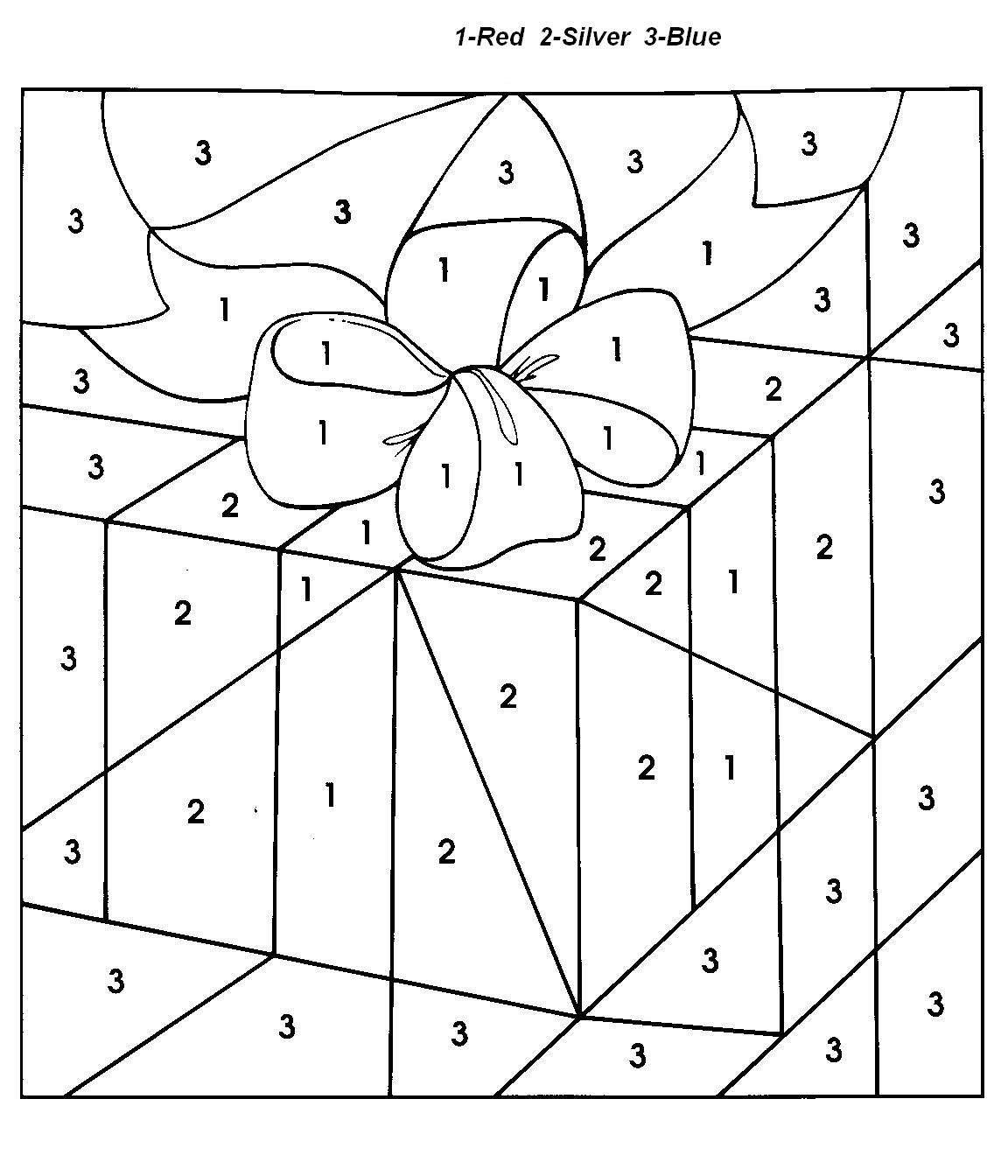 Christmas Coloring Pages With Numbers Gift Color By Number For Kids 91