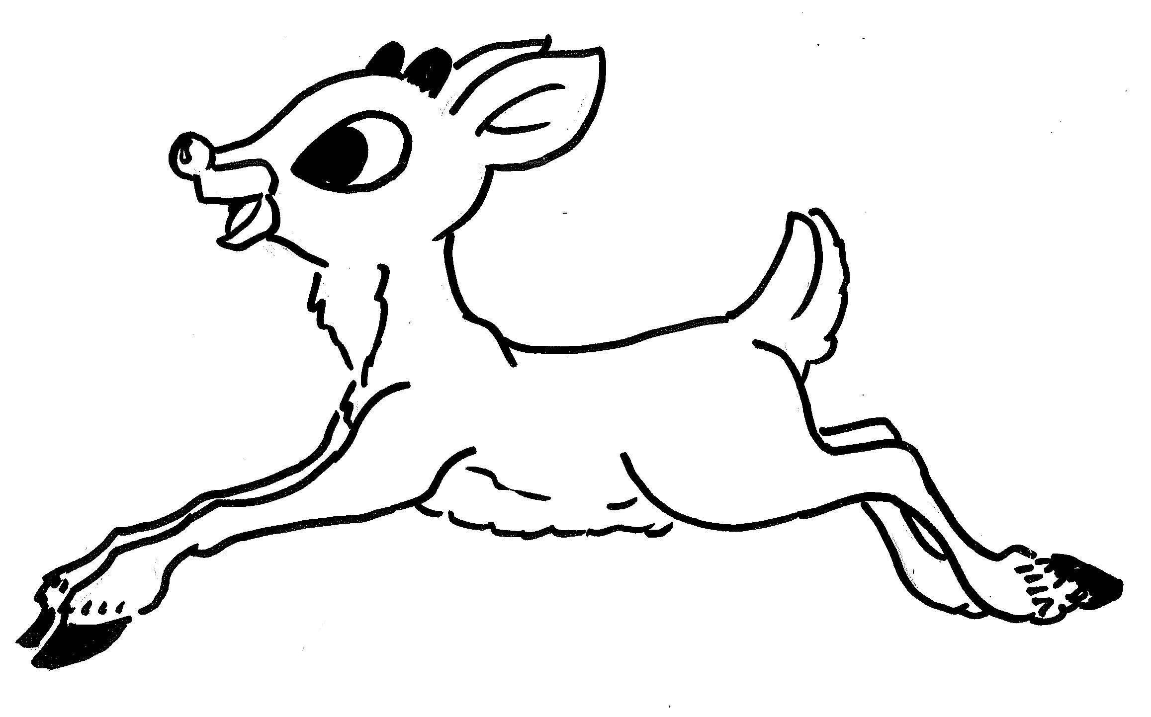 Christmas Coloring Pages With Reindeer Rudolph Red Nosed New The