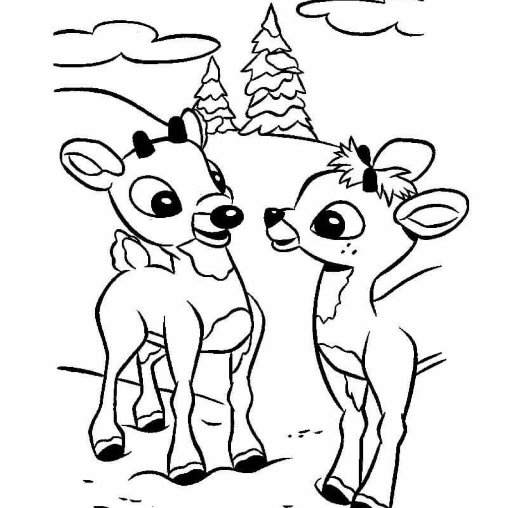 Christmas Coloring Pages With Reindeer World Of Makeup And Fashion