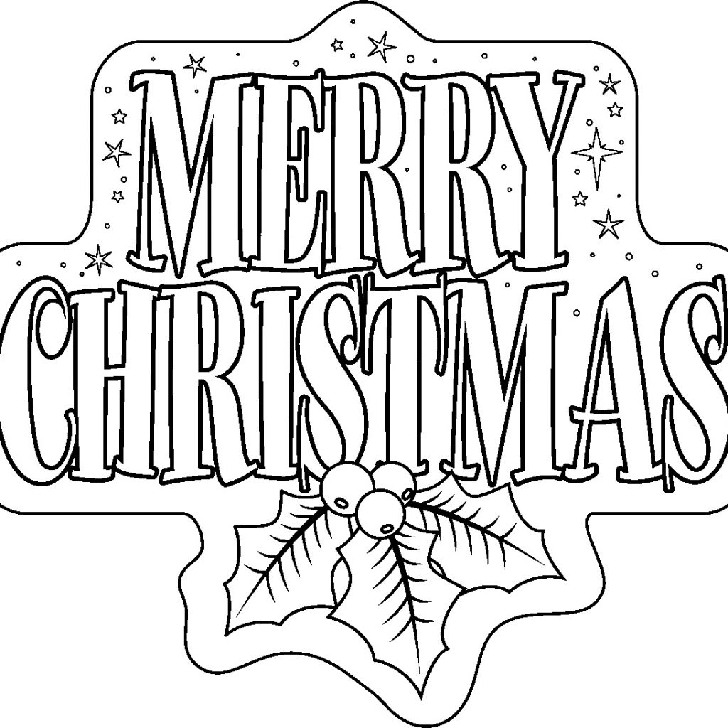 Christmas Coloring Pages With Words Free Printable Merry