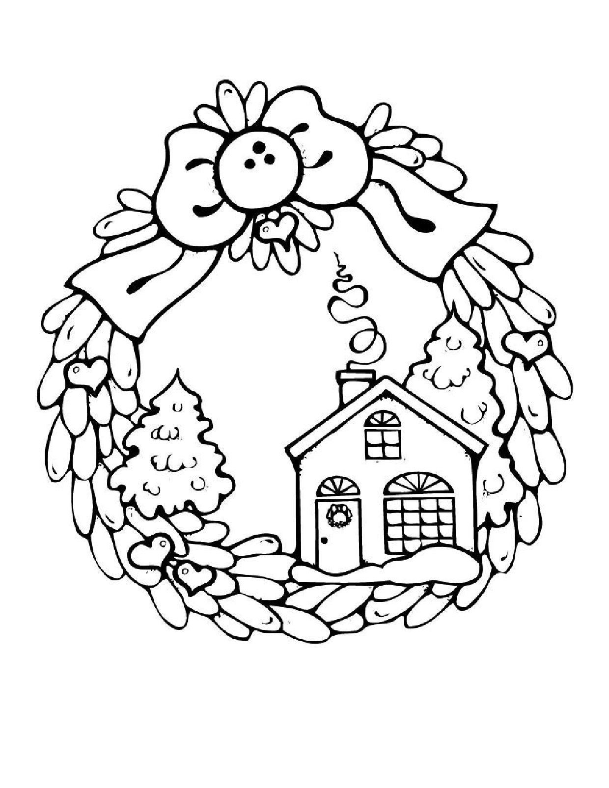 Christmas Coloring Pages Wreath With Houses Candy House Page