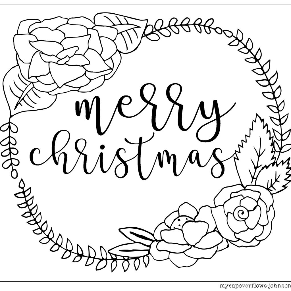 Christmas Coloring Pages Wreath With Merry Page Avaboard