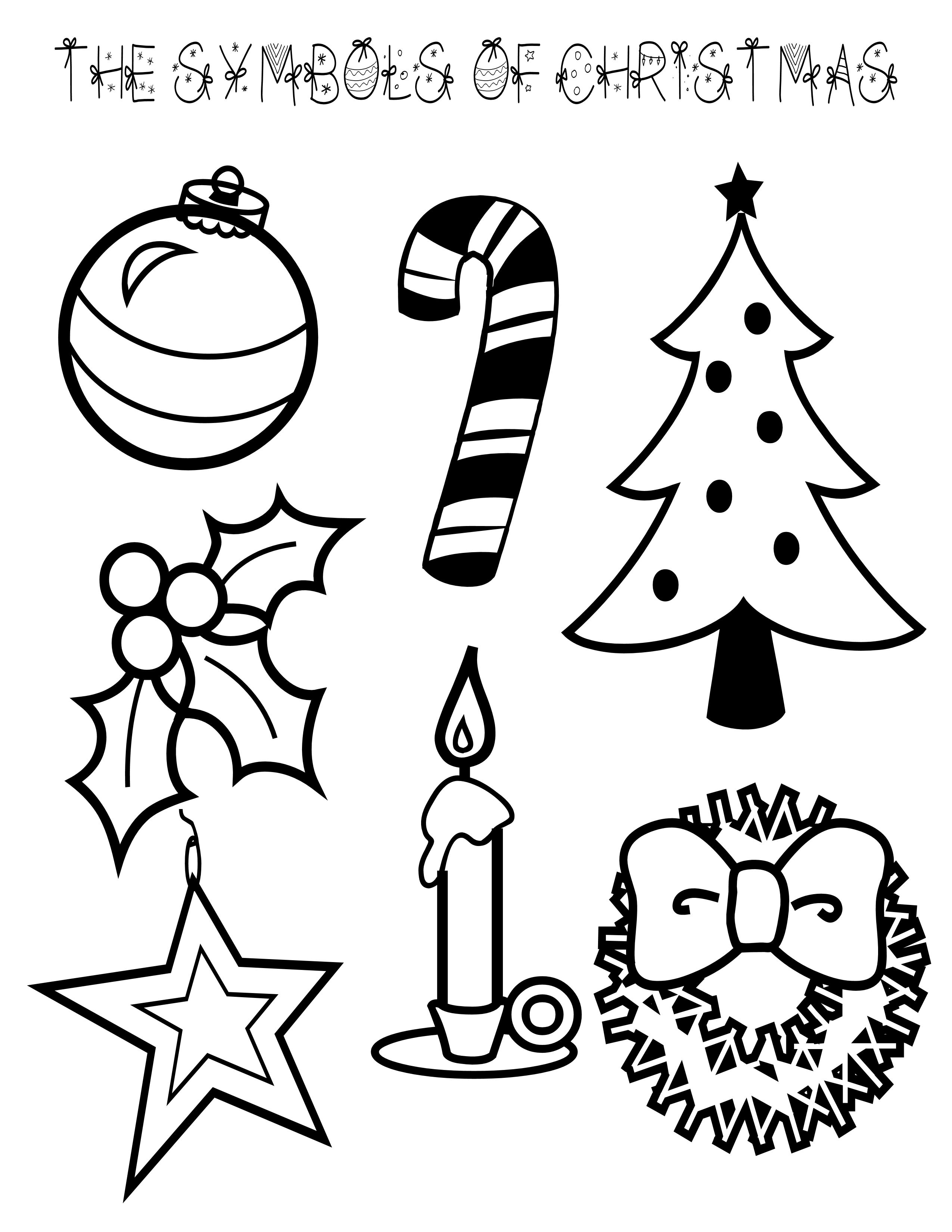Christmas Coloring Picture With Symbols Of Page