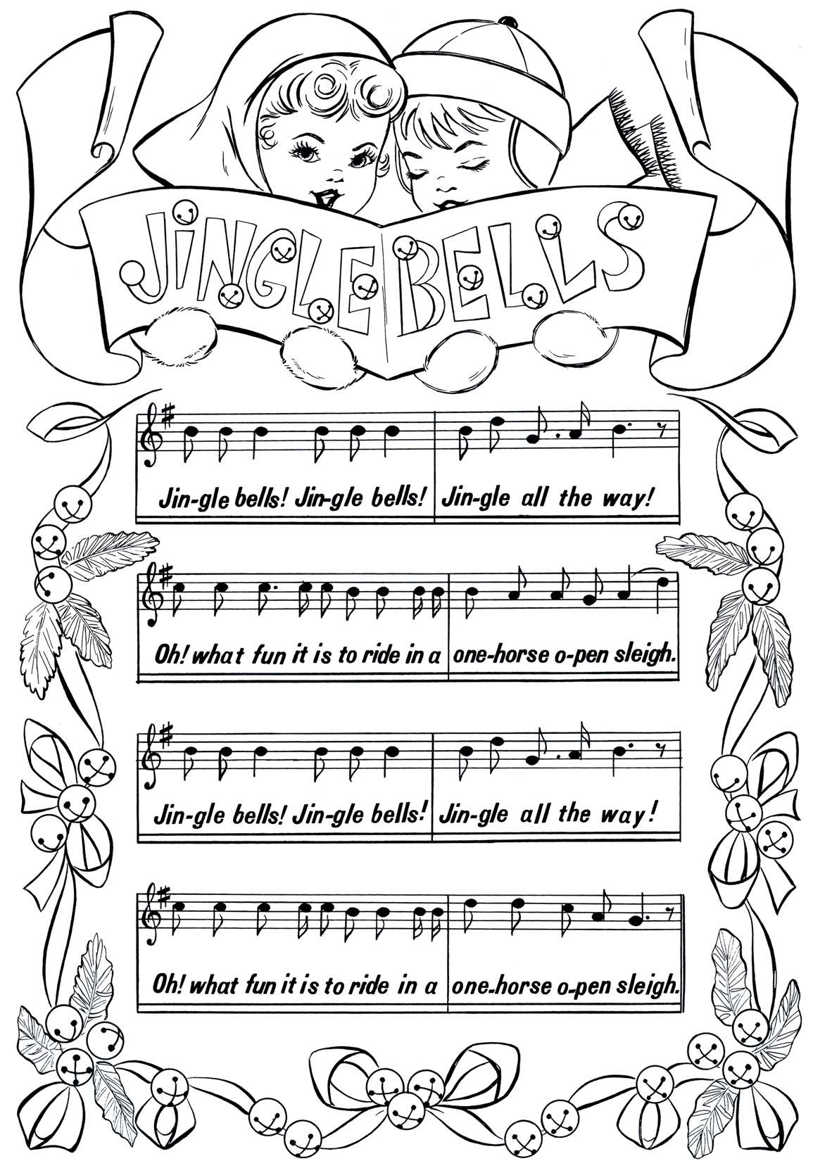 Christmas Coloring Postcards With Printable Page Jingle Bells The Graphics Fairy