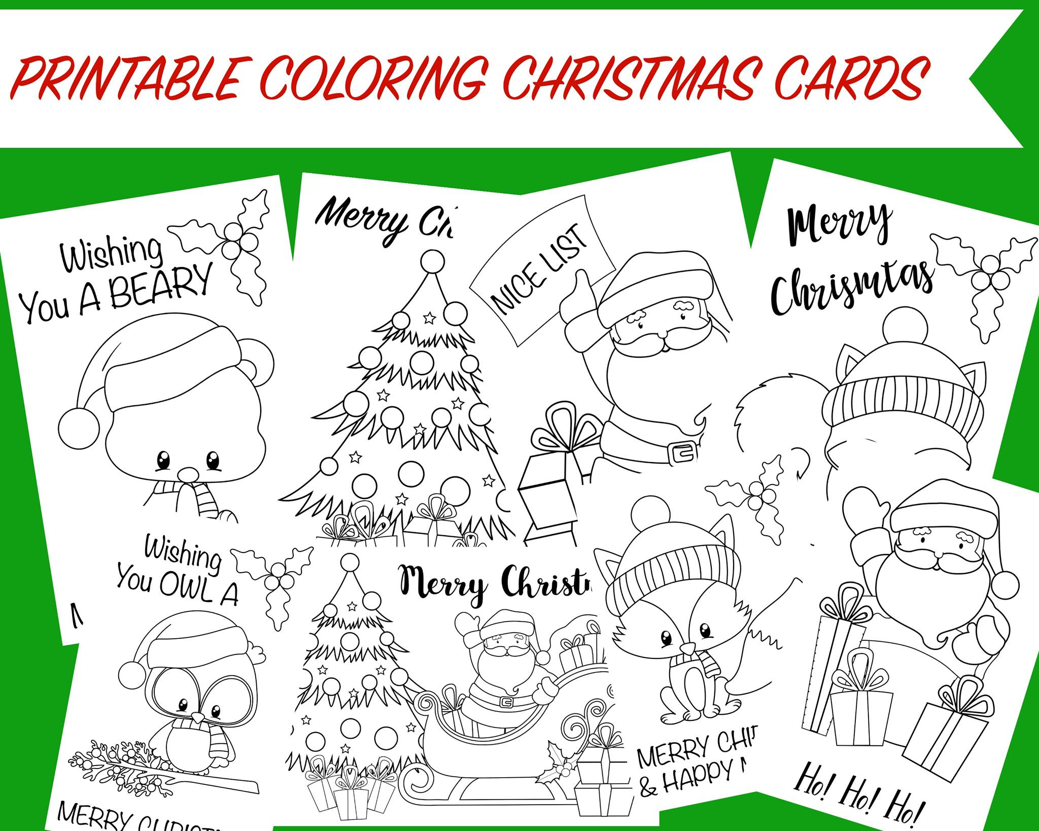 Christmas Coloring Printable Cards With Free Activity For Kids
