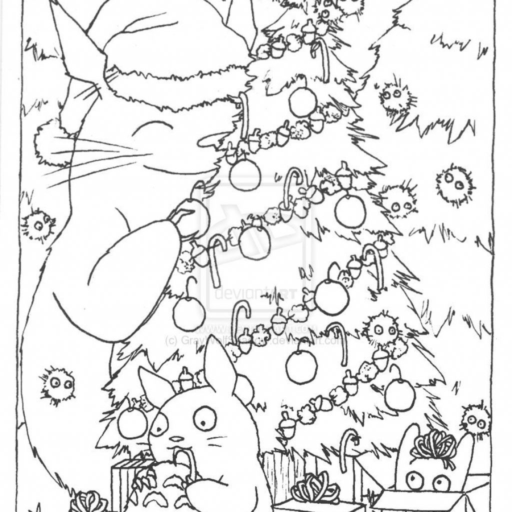 Christmas Coloring Printable Cards With Totoro Card Lineart By GrayWolfShadow Deviantart Com On