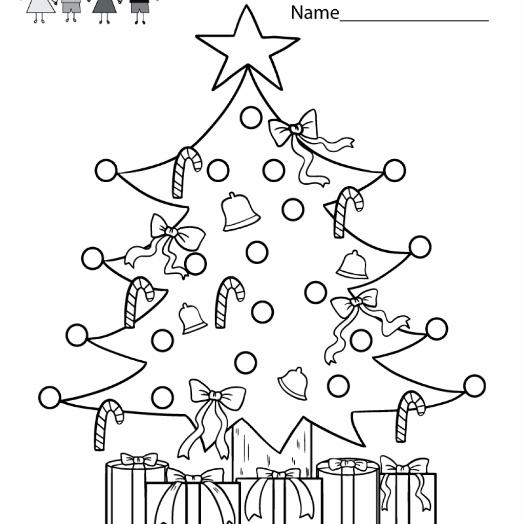 Christmas Coloring Printables Pdf With Tree Worksheet Free Kindergarten Holiday