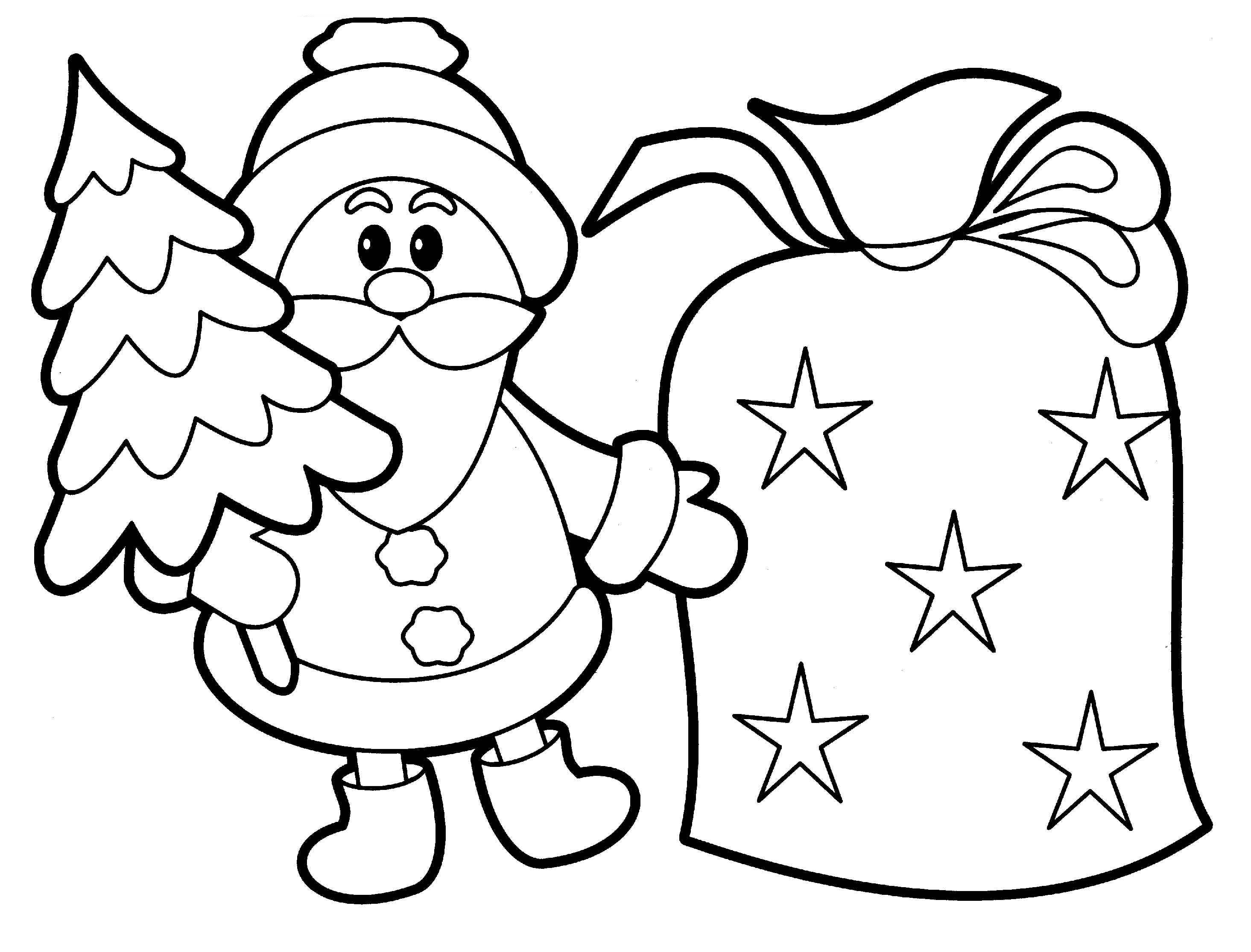 Christmas Coloring Printouts With Santa Claus Pages Gallery Free Books