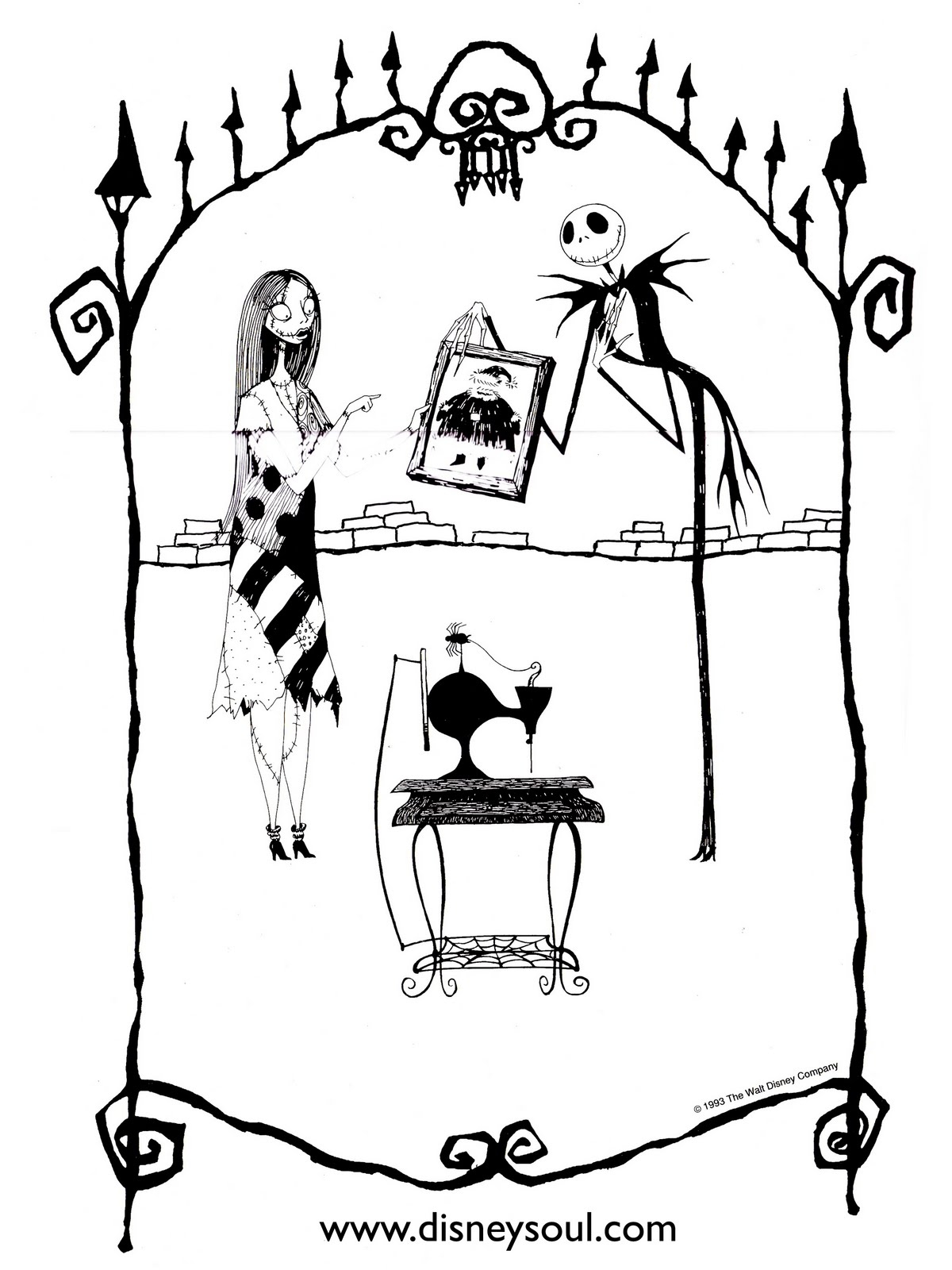 Christmas Coloring Printouts With The Nightmare Before Pages Download Free