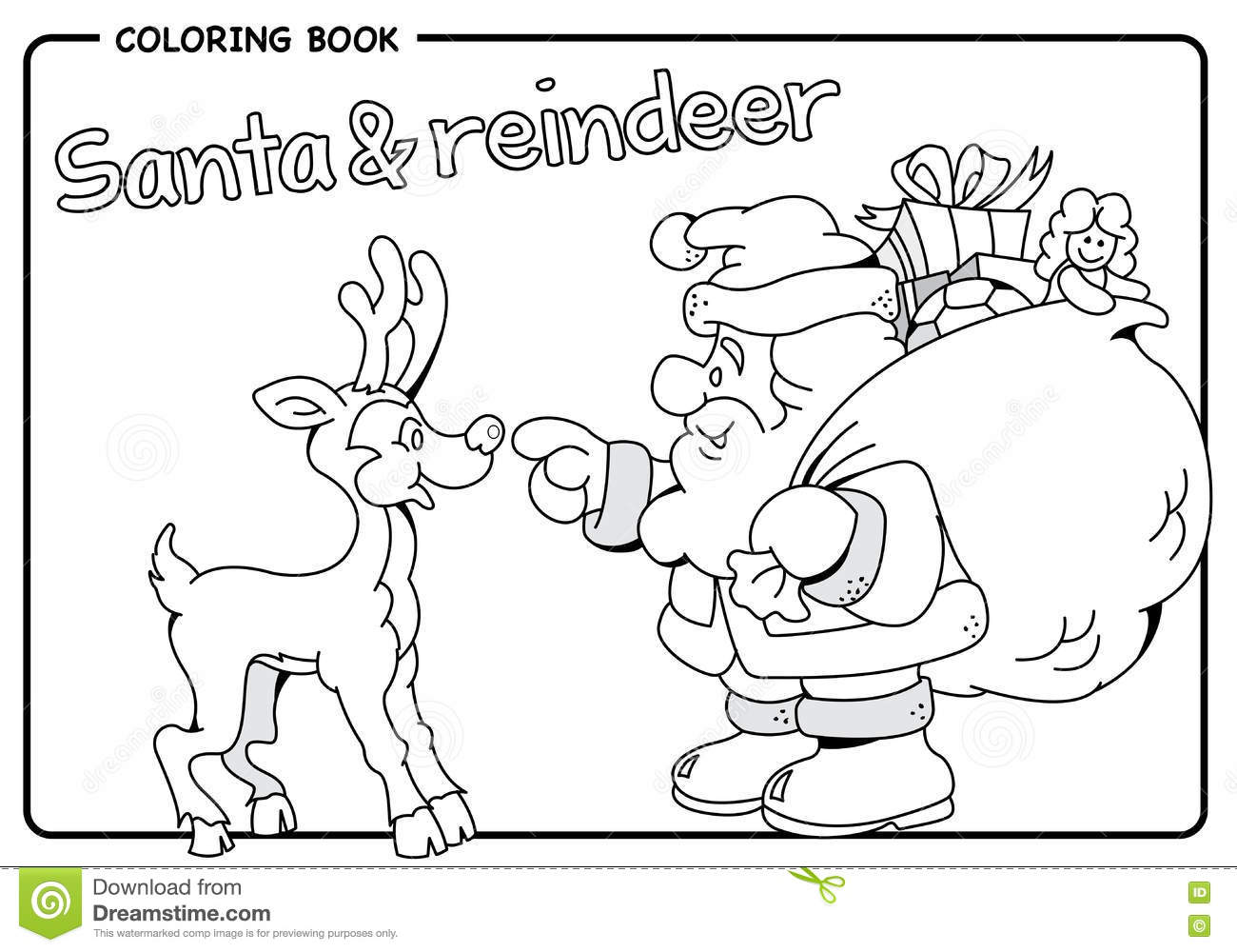 Christmas Coloring Reindeer With Santa Claus Carrying Sack Of Gifts