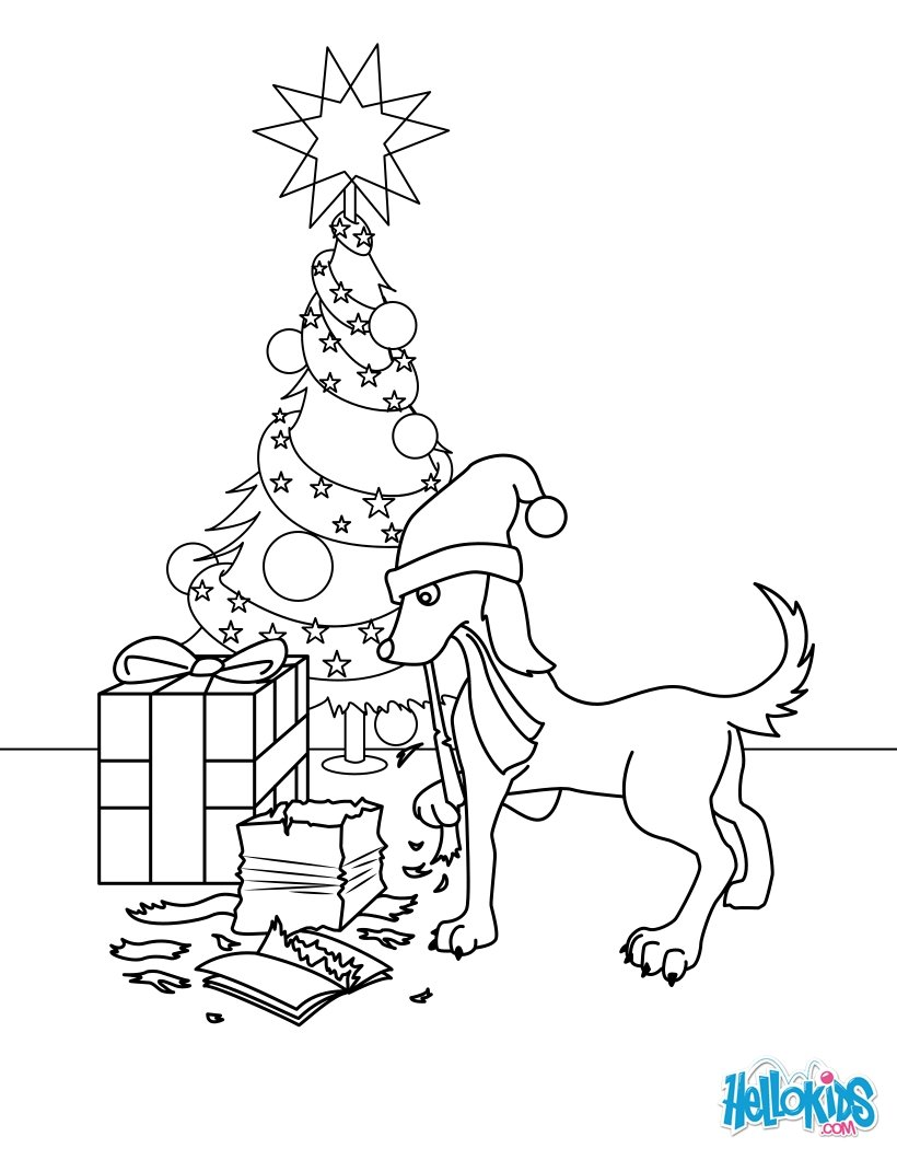 Christmas Coloring Sheets Dog With Gifts Pages Hellokids Com