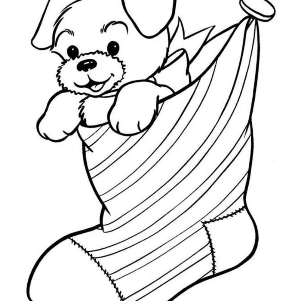 Christmas Coloring Sheets Dog With New Post Tree Presents Decors Ideas