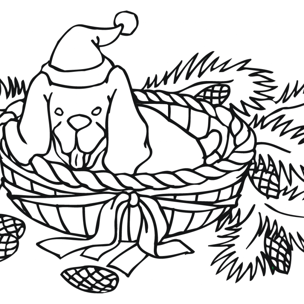 Christmas Coloring Sheets Dog With Page Free Printable Pages