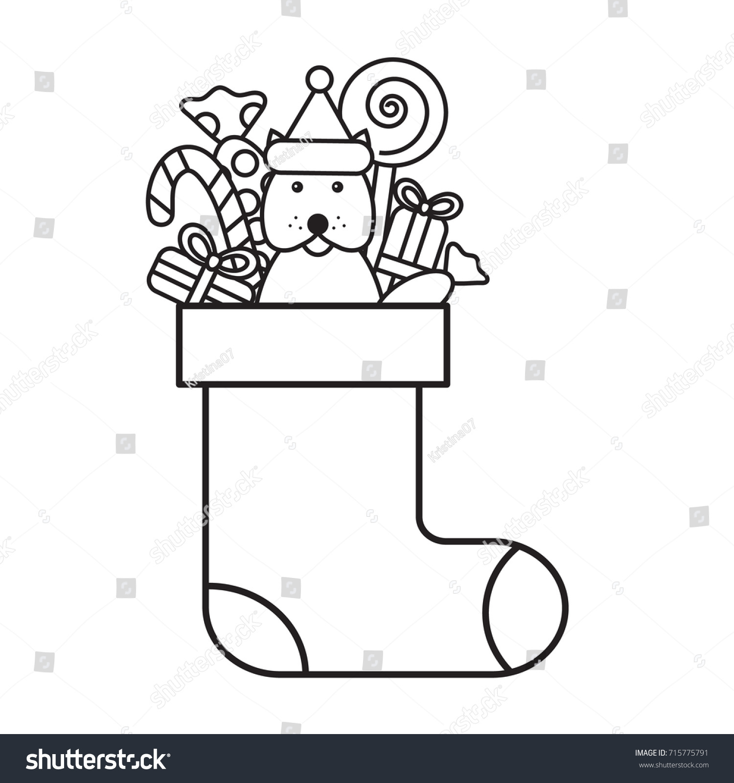 Christmas Coloring Sheets Dog With Page Kids Sock Gifts Stock Vector Royalty Free