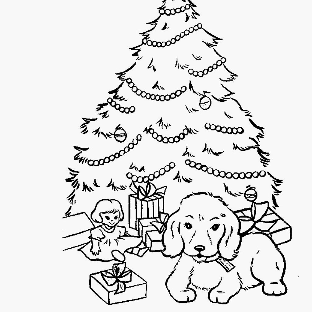 Christmas Coloring Sheets Dog With Presents Pages 48 Beautiful Glass Tree