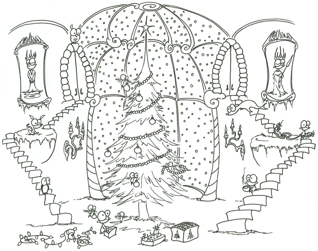 Christmas Coloring Sheets For Adults Pdf With Pages Monkeys Decorating A Tree Help From