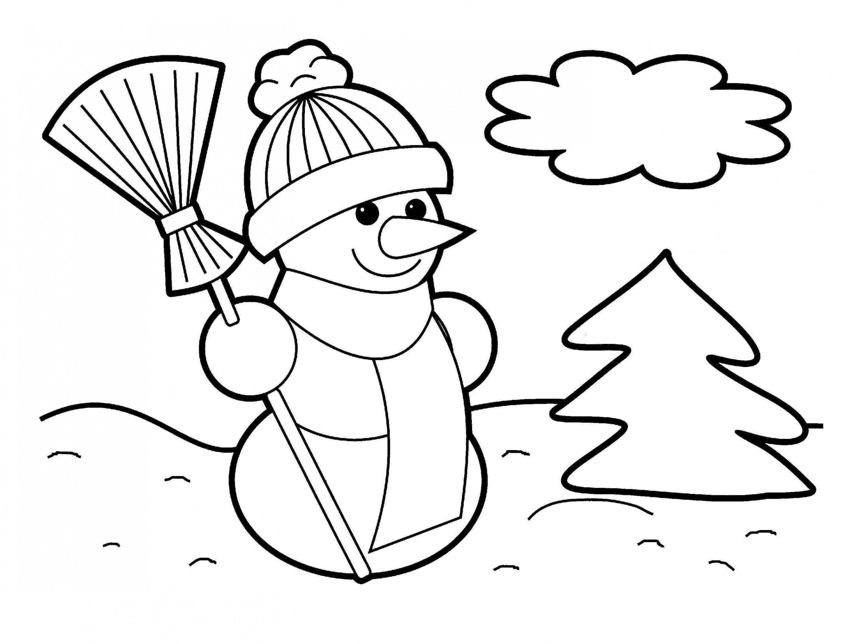 Christmas Coloring Sheets For Elementary With Snowman Pages Kindergarten