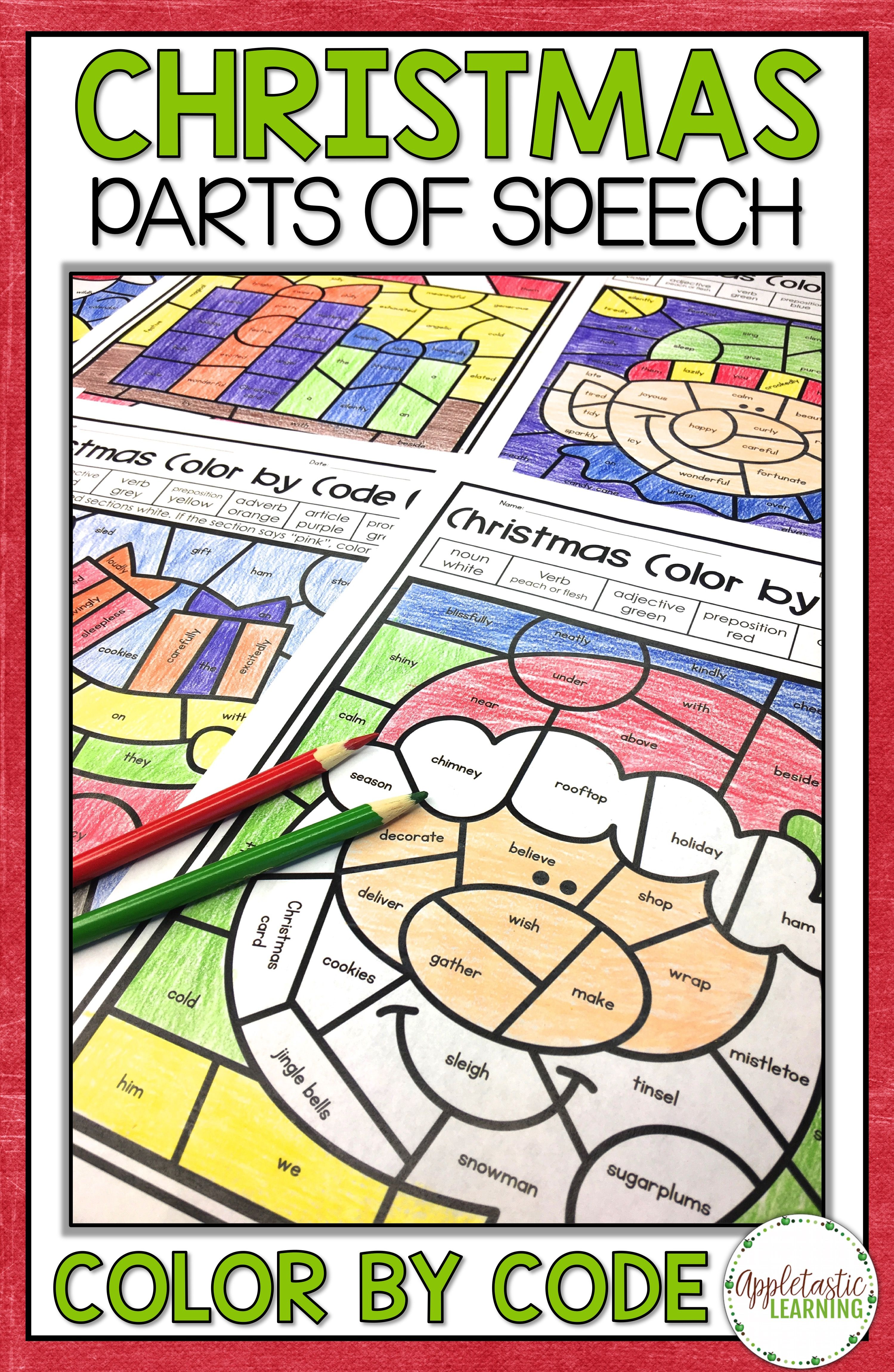 Christmas Coloring Sheets For Middle School With Pages Parts Of Speech Color By Number Seasonal