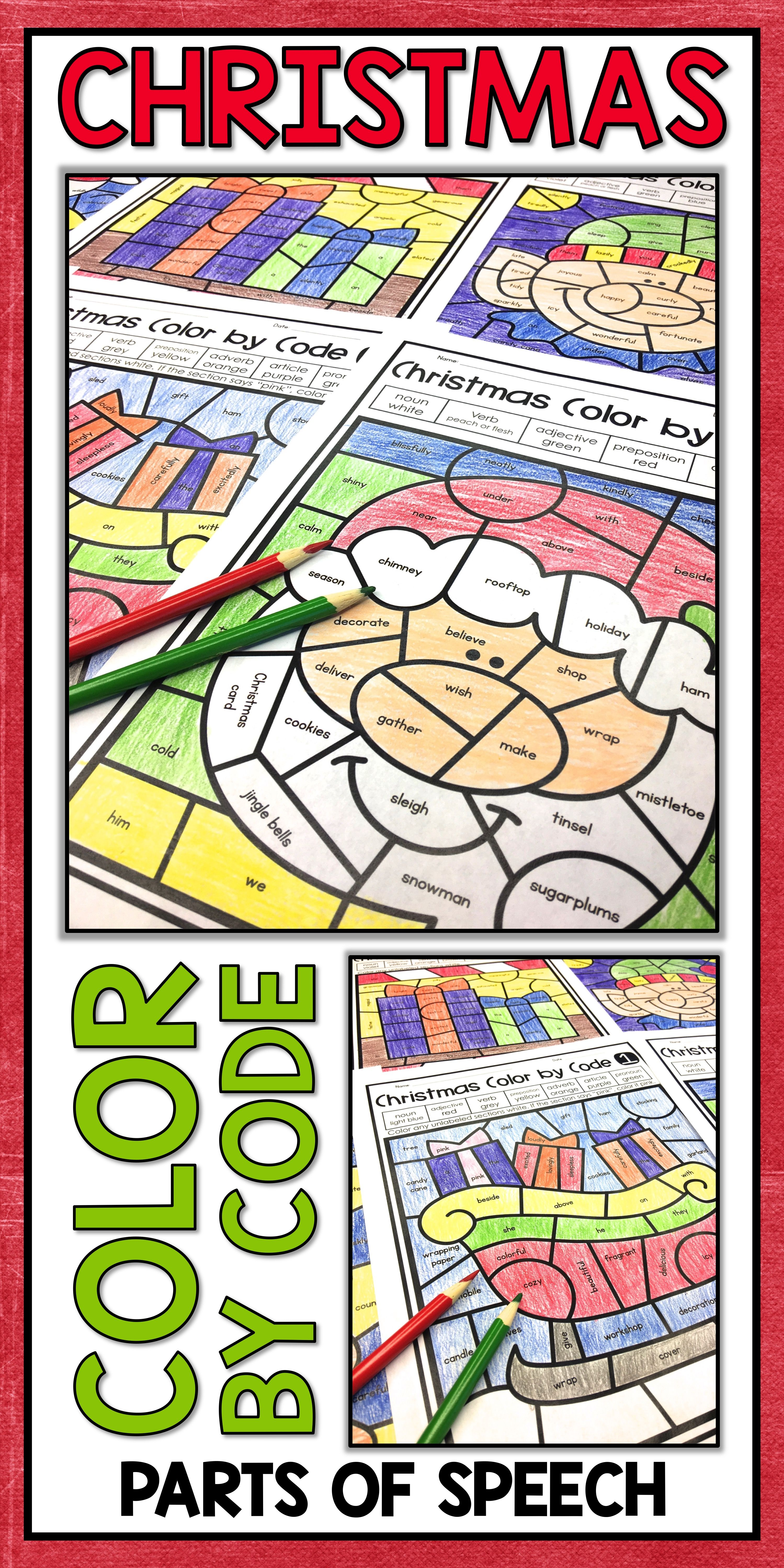 Christmas Coloring Sheets For Middle School With Pages Parts Of Speech Color By Number