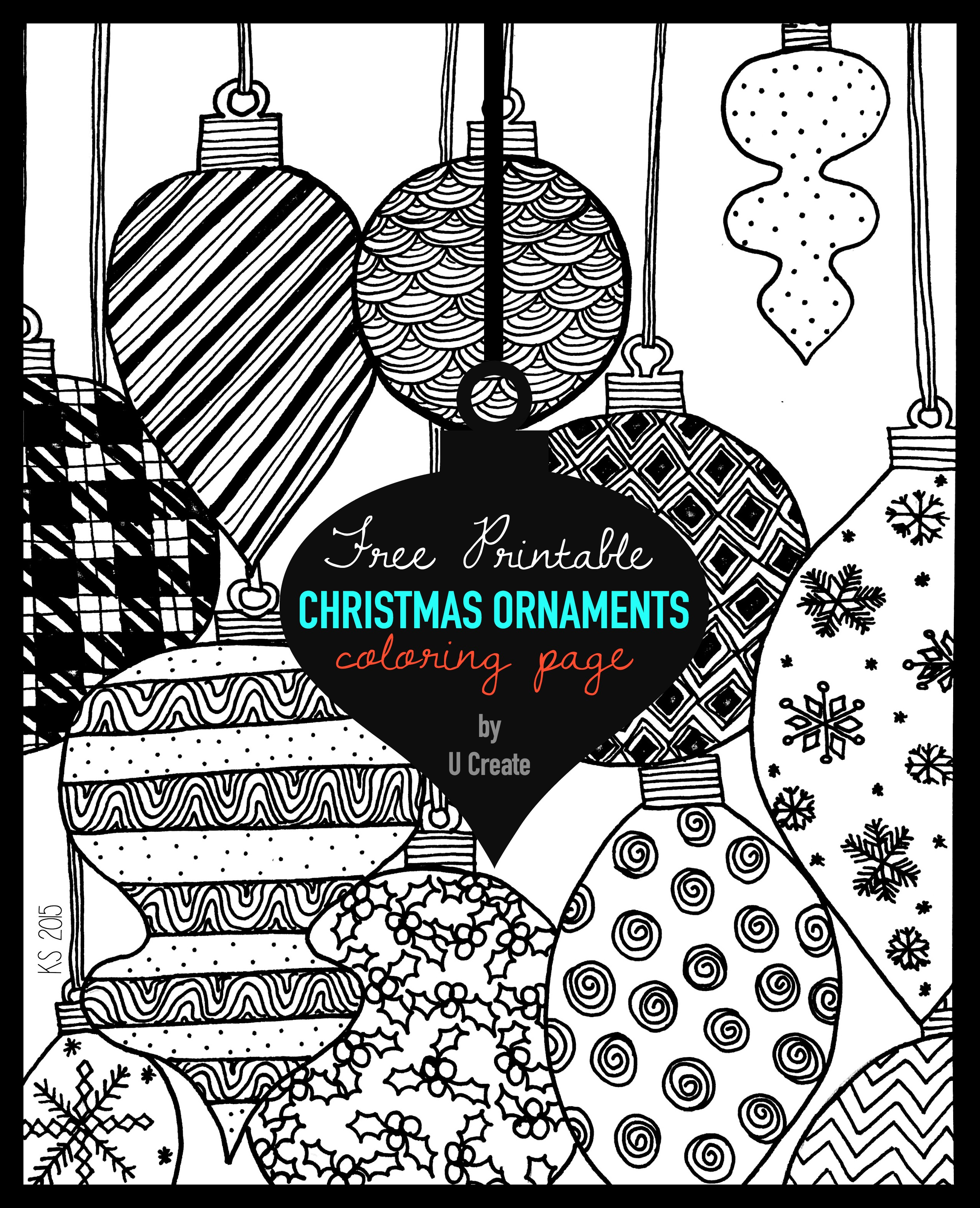 Christmas Coloring Sheets For Older Students With Ornaments Adult Page U Create