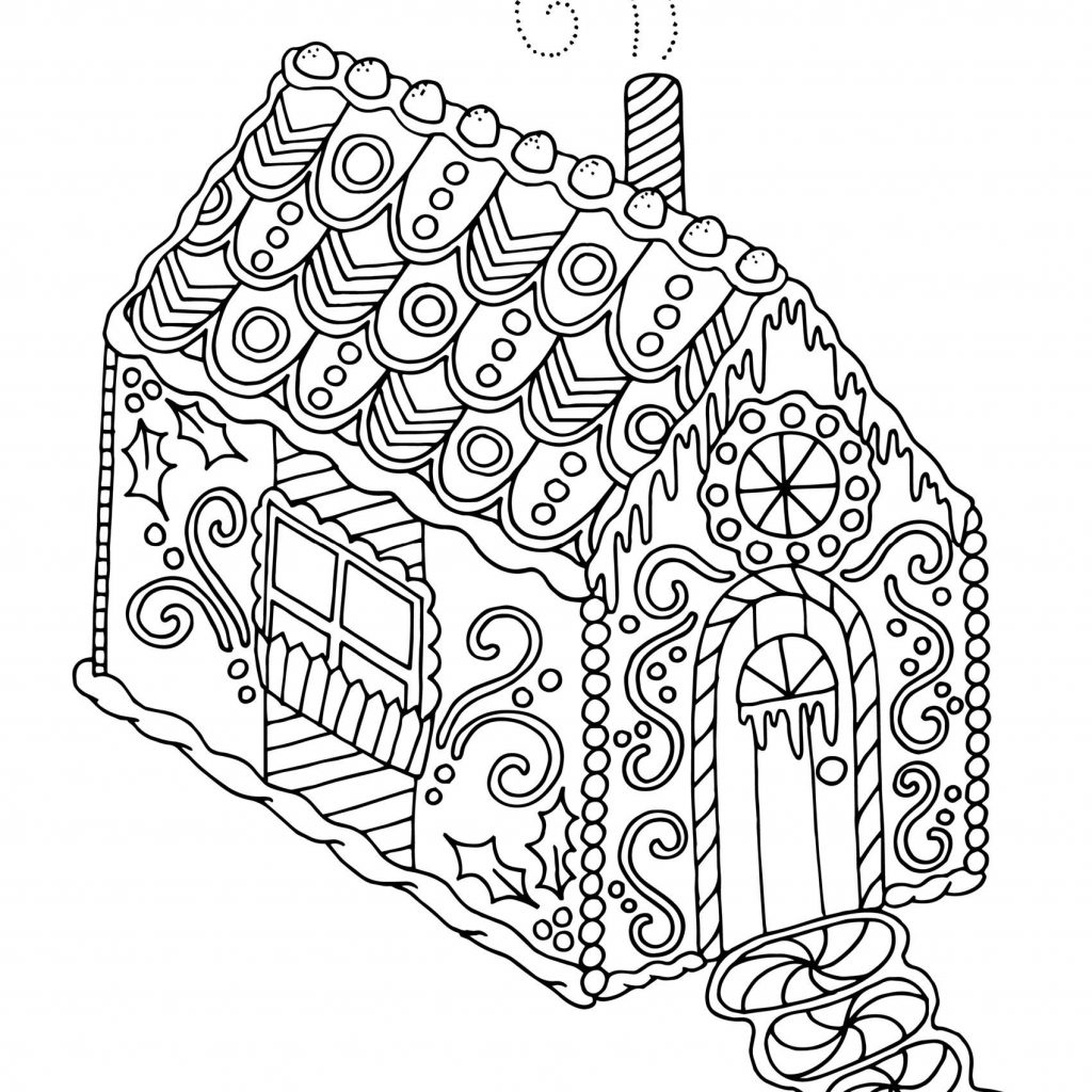 Christmas Coloring Sheets Gingerbread House With Adult Pages Printable