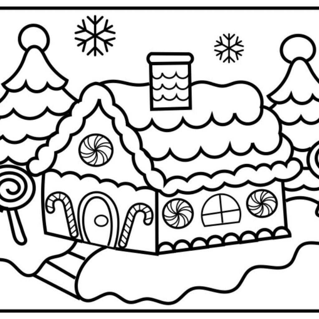 Christmas Coloring Sheets Gingerbread House With CHRISTMAS COLORING How To Draw And Color A Kids