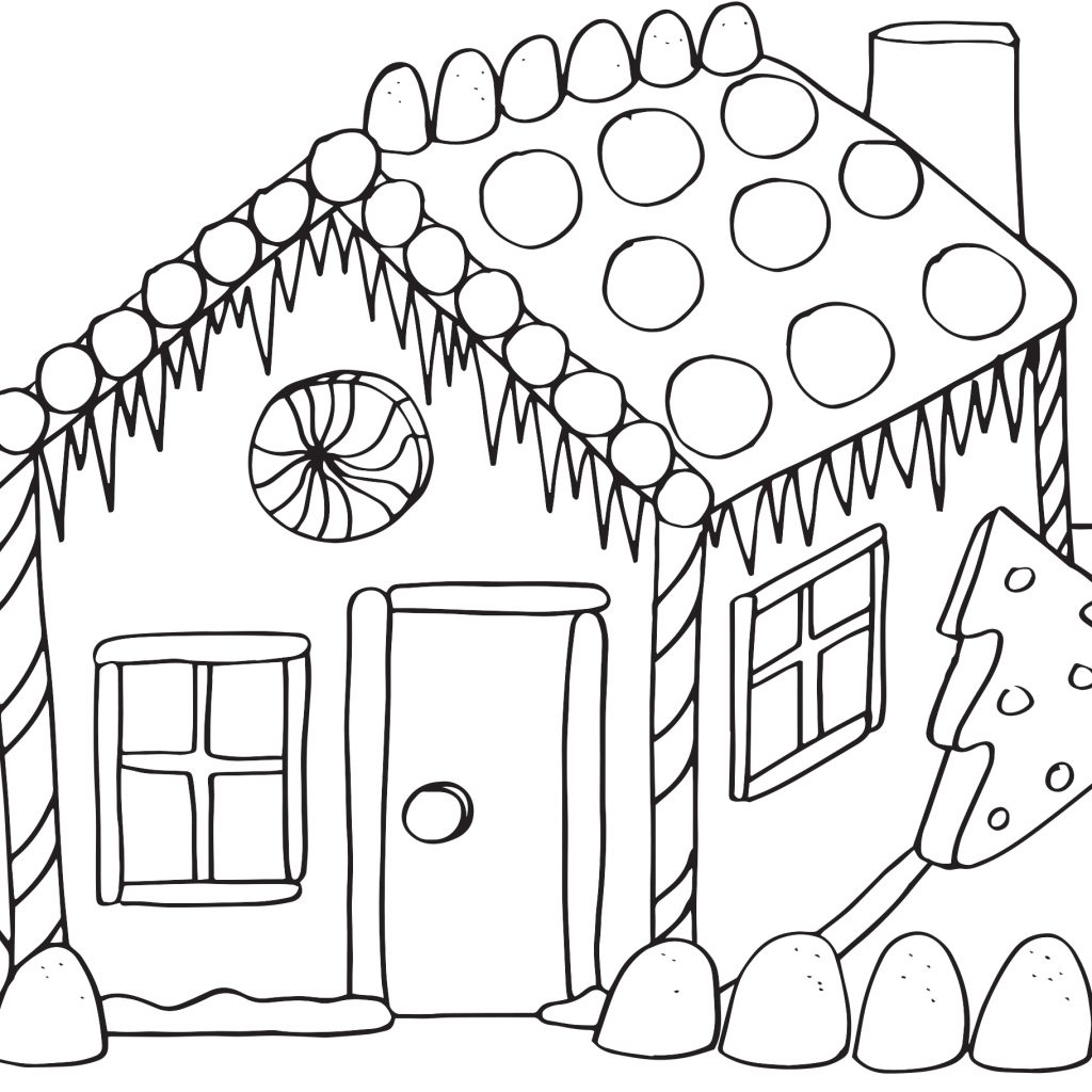 Christmas Coloring Sheets Gingerbread House With Pages Download Free