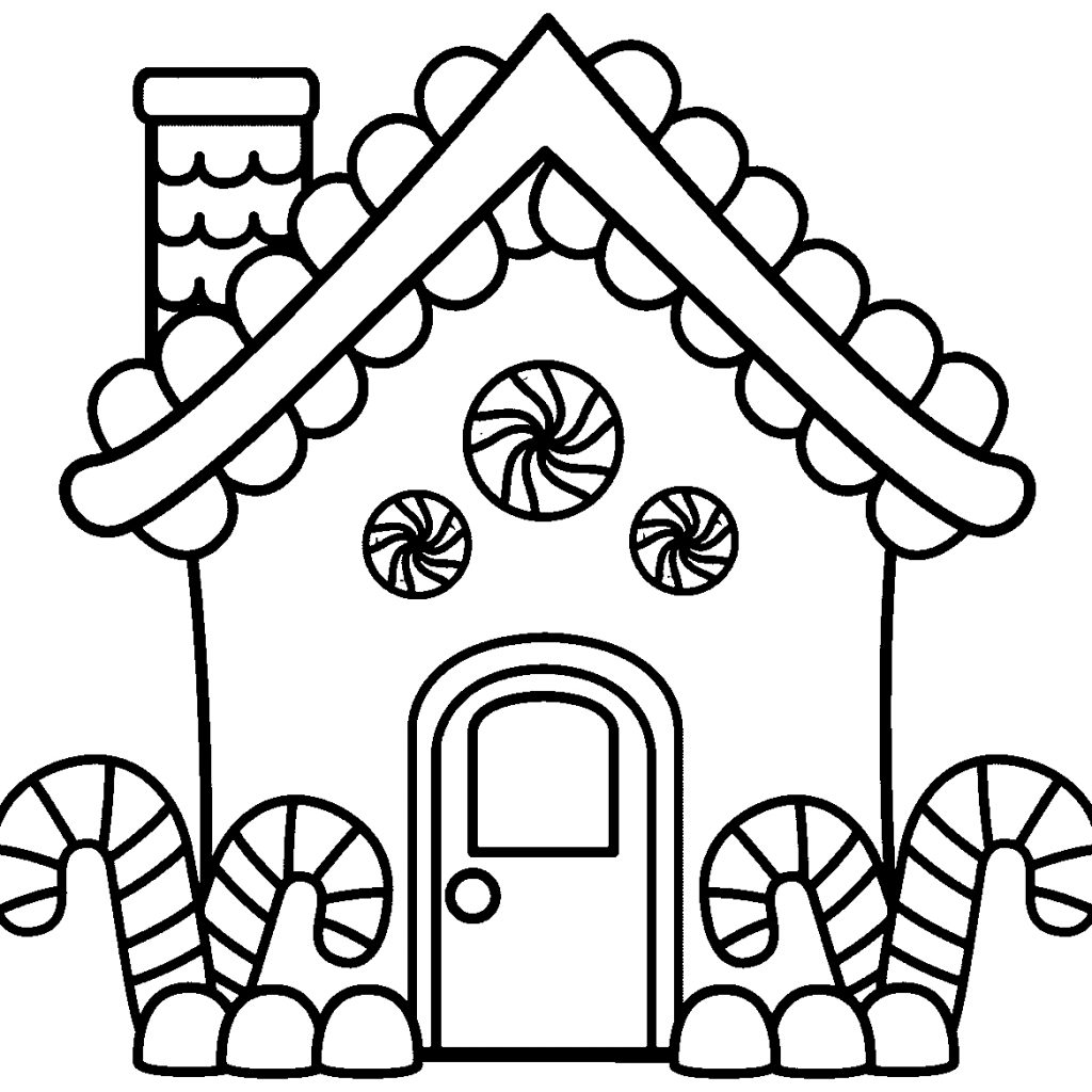 Christmas Coloring Sheets Gingerbread House With Pages Page Free