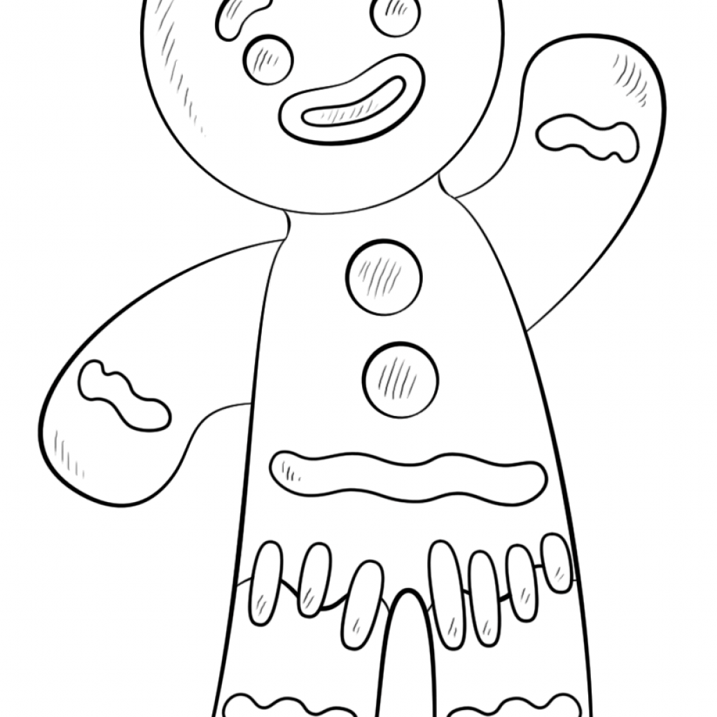 Christmas Coloring Sheets Gingerbread Man With Color Page Free Library