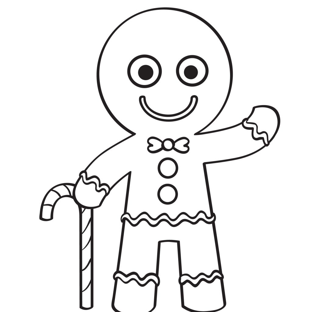 Christmas Coloring Sheets Gingerbread Man With House Pages Best