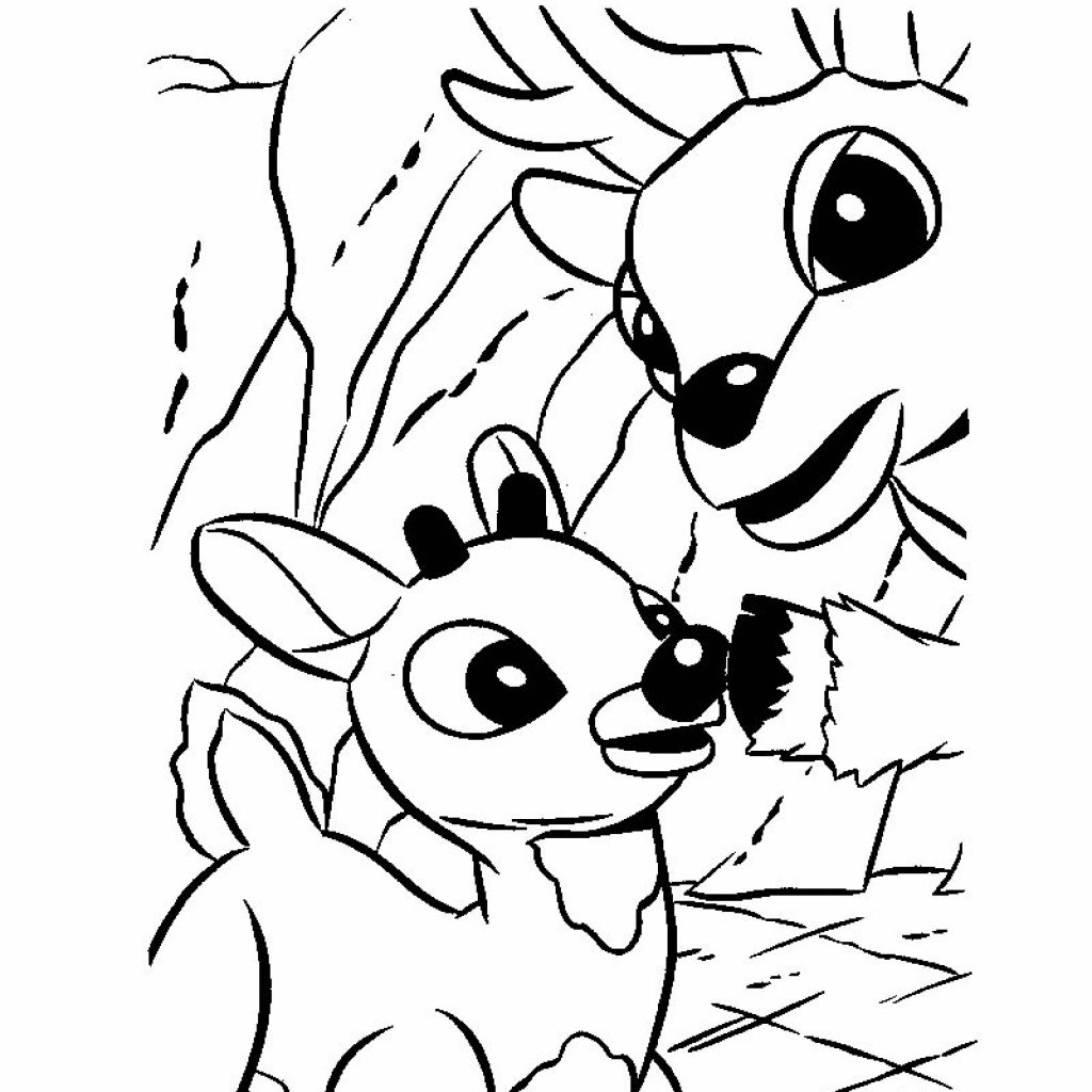 Christmas Coloring Sheets Reindeer With Rudolph And Santa Sleigh Pages Hellokids Com
