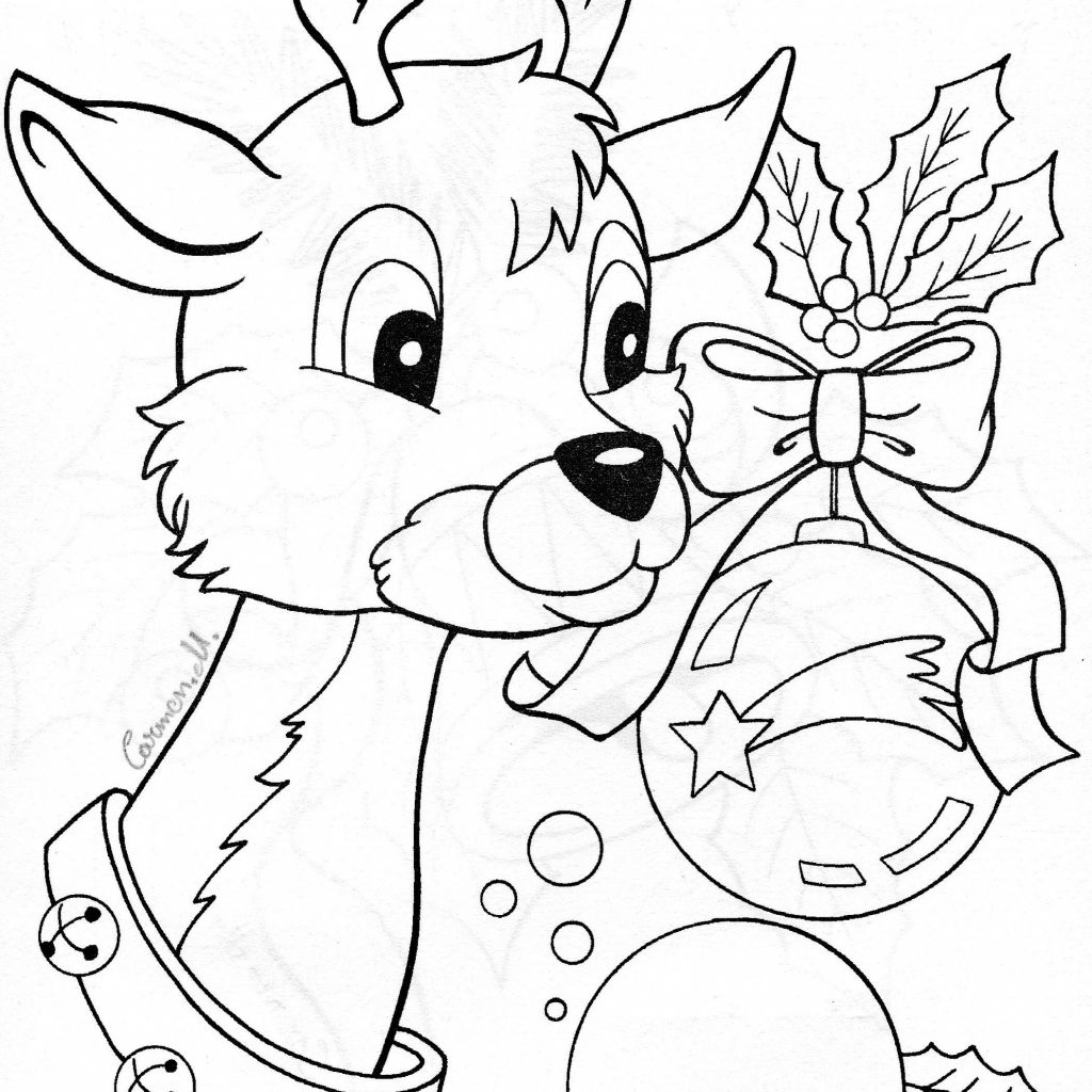 Christmas Coloring Sheets Reindeer With Winter And Pictures Pinterest