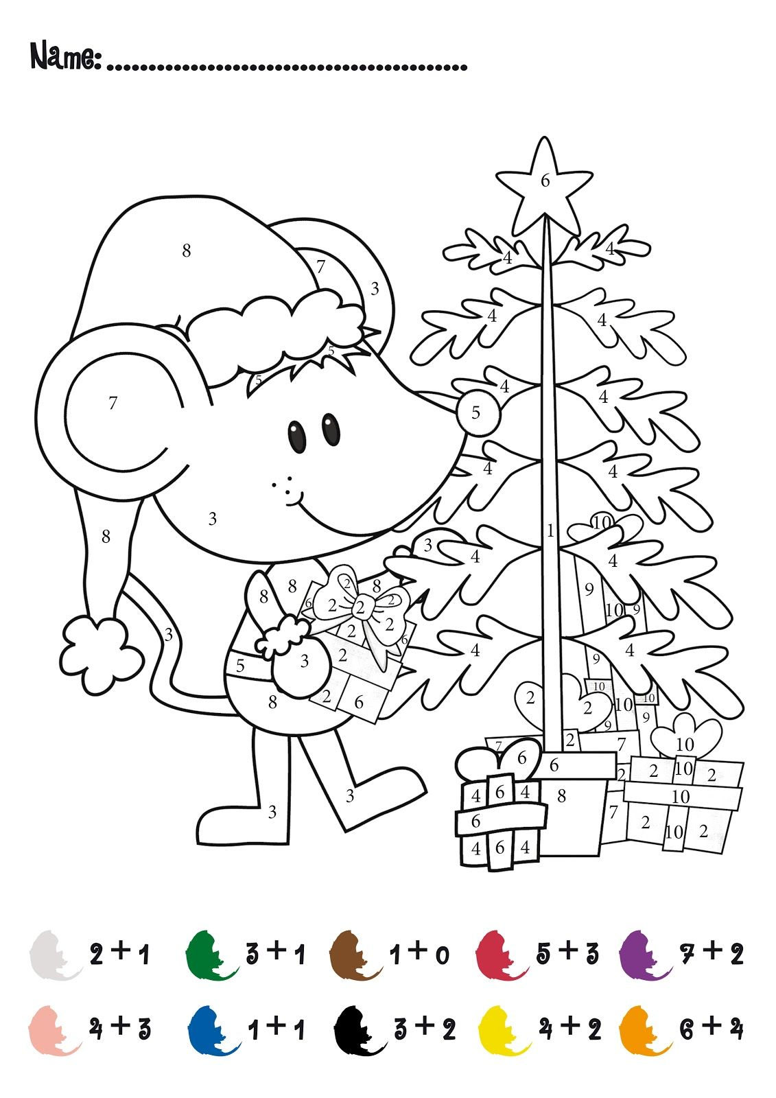 Christmas Coloring Sheets With Math Problems CHRISTMAS Color By Numbers Printables Addition