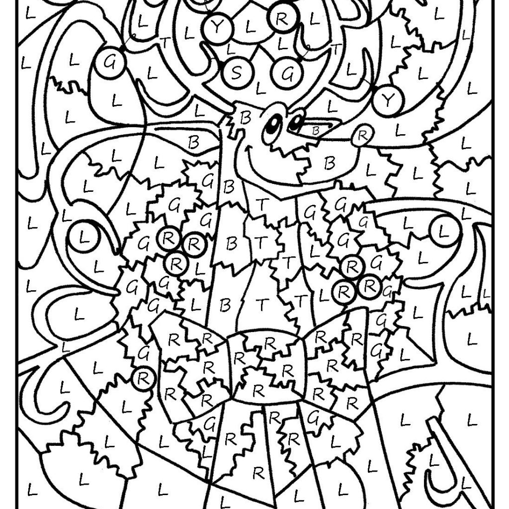 Christmas Coloring Sheets With Math Problems Color By Number Pages Printable