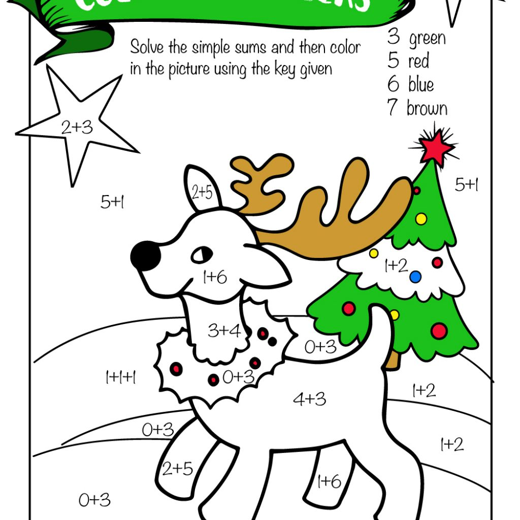 Christmas Coloring Sheets With Math Problems Free Printable Worksheets Pre K 1st Grade 2nd