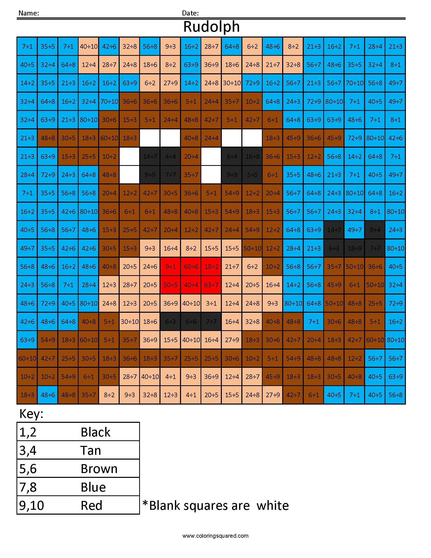 Christmas Coloring Squared With Holiday Multiplication And Division Pinterest