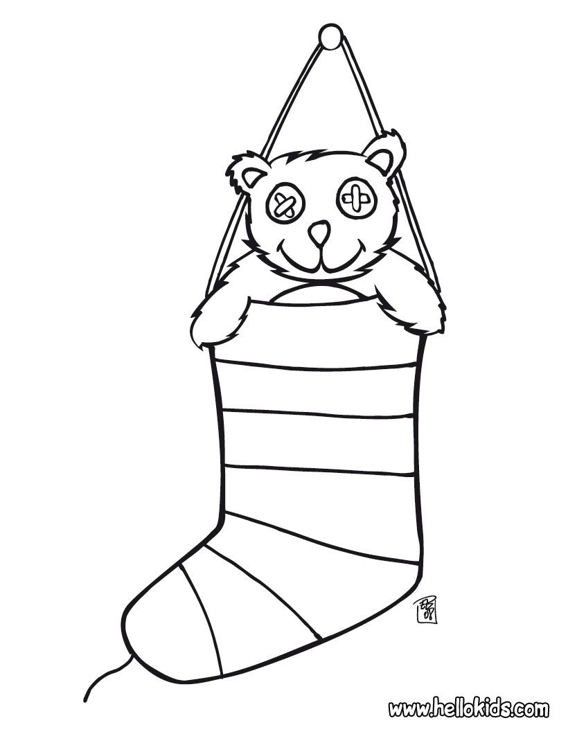 Christmas Coloring Stockings Template With CHRISTMAS STOCKINGS Pages Printable Xmas